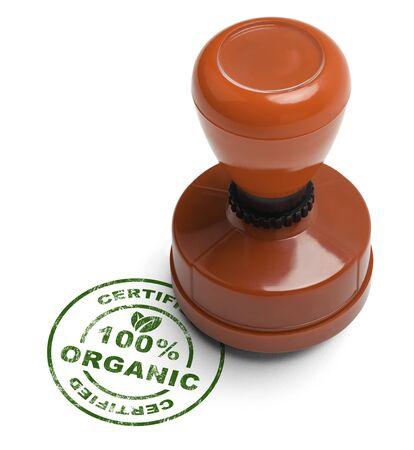 validez: Verde sello del 100% orgánico certificado con el Sello de caucho de madera aislada sobre fondo blanco.