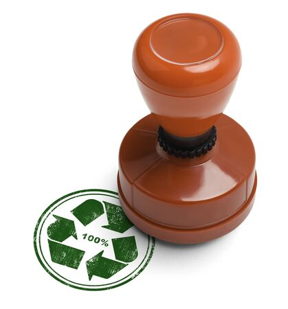 validity: Green 100% recycle rubber stamp with wooden stamper Isolated on White Background. Stock Photo