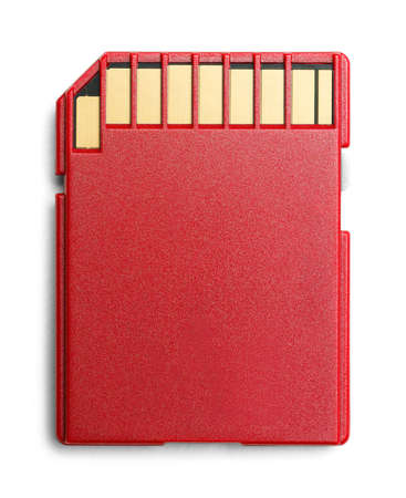 microdrive: Red Computer Memory Card Back Side with Copy Space Isolated.