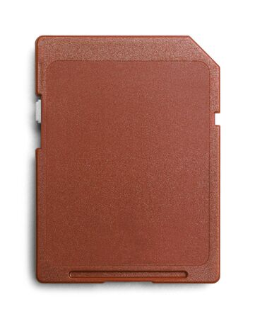 microdrive: Red Computer Memory Card with Copy Space Isolated. Stock Photo