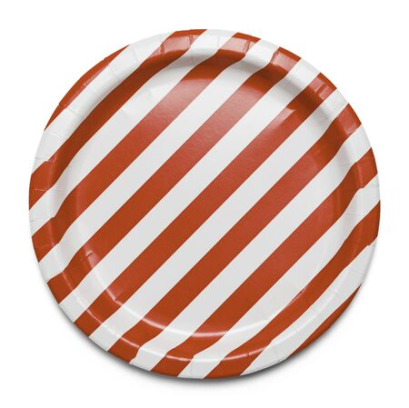 Red and White Striped Plate Isolated on White Background.