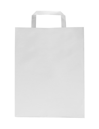 paper bag: White Paper Bag with Copy Space Isolated on White Background.