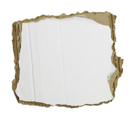 surface level: White Piece of Corrugated Cardboard Torn and Isolated on White. Stock Photo