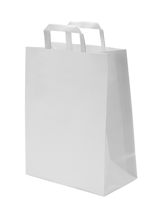 paper bag: White Paper Bag with Handles Isolated on White Background. Stock Photo