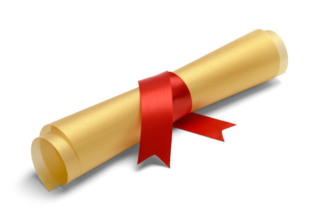 ged: Golden College Degree with Red Ribbon Isolated on White Background.