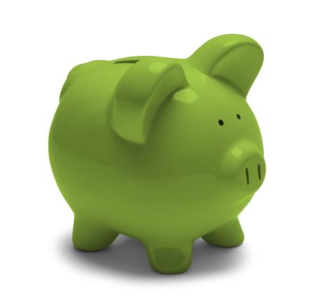 Grüne Piggy Bank auf weißem Hintergrund. Standard-Bild