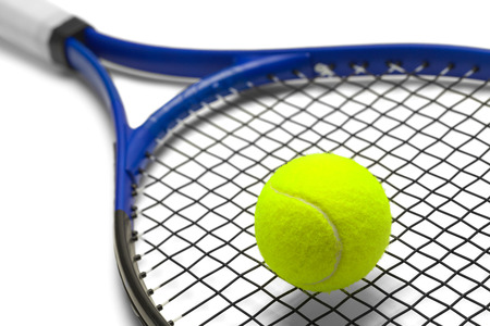 Blue and Black Tennis Racket with Green Ball Isolated on White Background.