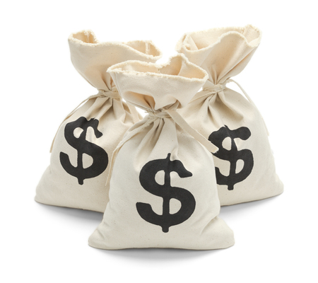 Three Tied Money Bags Isolated on White Background.