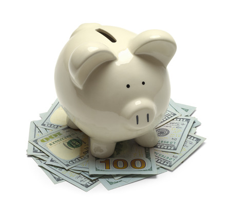 outs: Piggy Bank Standing on Cash Money Isolated on White Background.