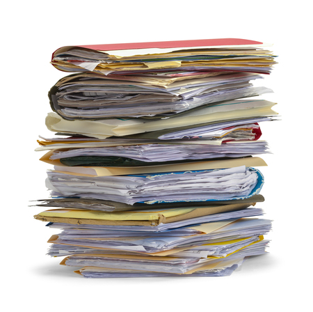 chaos order: Large Pile Of Messy Files Isolated on White Background.
