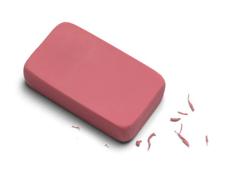 Pink Worn Eraser Isolated on White Background.