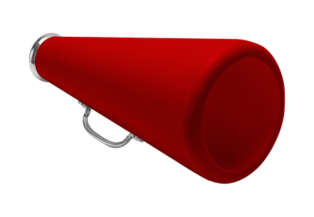 communication industry: Red Cheer Megaphone Cut Out and Isolated on White Background.