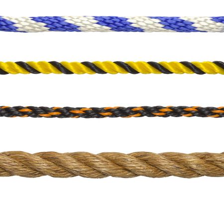 yellow tassel: Segments of Rope Cord Isolated on White Background. Stock Photo