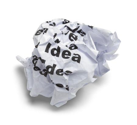 bad idea: Crumpled Up Bad Idea Paper Isolated on White Background.