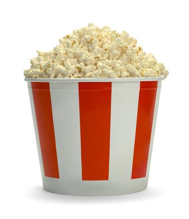 Large Full Bucket of Popcorn Isolated on White Background.