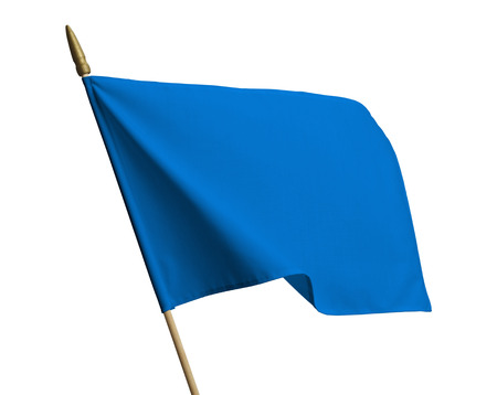 Blank Blue Flag Blowing in Wind Isolated on White Background.