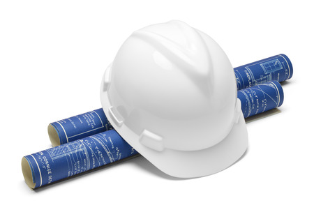 blue prints: White Hard Hat and Blue Prints Isolated on White  Background.