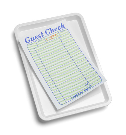 Receipt Tray with Blank Guest Check Isolated on White Background.