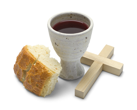 Broken Bread with Wine Goblet and Cross Isolated on White Background.