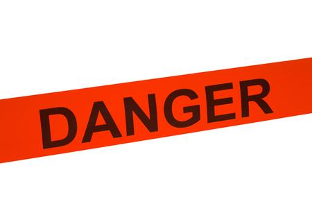 Orange Danger Cordon Tape Isolated on White Background. Stock Photo