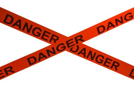 murdering: Orange Danger Cordon Tape Isolated on White Background. Stock Photo