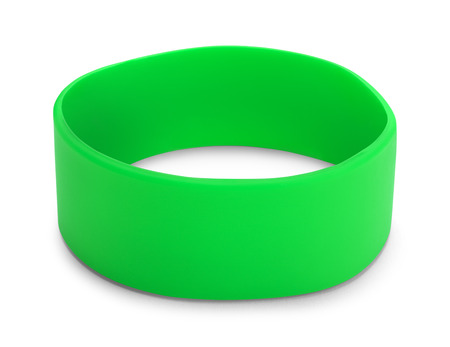 nephropathy: Large Green Rubber Bracelet with Copy Space Isolated on White Background.