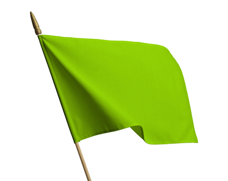 Blank Green Flag Blowing in Wind Isolated on White Background.
