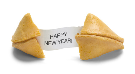 Fortune Cookie with Happy New Year Message Isolated on White Background.