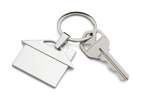 House Key and Keychain Isolated on White Background.