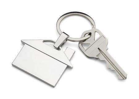 keys isolated: House Key and Keychain Isolated on White Background.