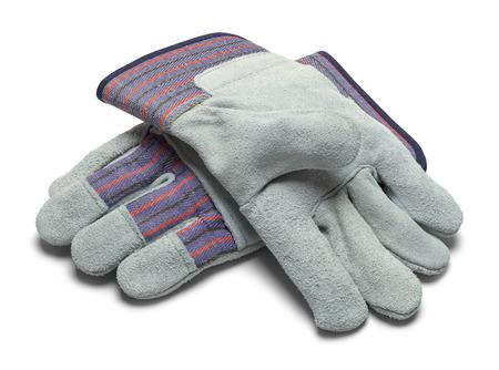 グレー革作業用手袋白い背景で隔離のペア。 写真素材