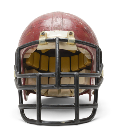 beaten up: Front View of Old Football Helmet Isolated on White Background.