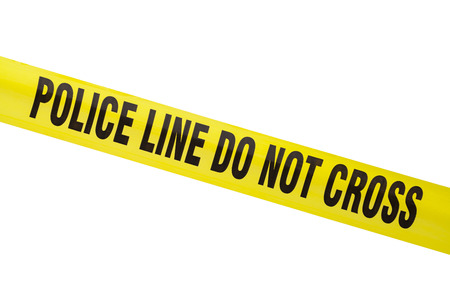 roped off: Yellow Police Line Cordon Tape Isolated on White. Stock Photo