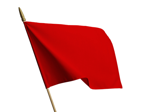 Blank Red Flag Blowing in Wind Isolated on White Background.