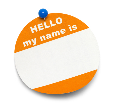 Round Orange Hello Tag with Blue Pin Isolated on White Background.