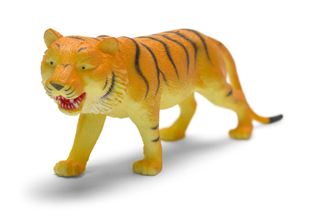 Plastic Tiger Toy Isolated on White Background. Foto de archivo