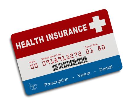 Carte d'assurance santé américaine isolé sur fond blanc.