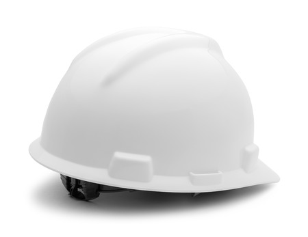 helmet construction: Back of Hard Hat Isolated on White Background.