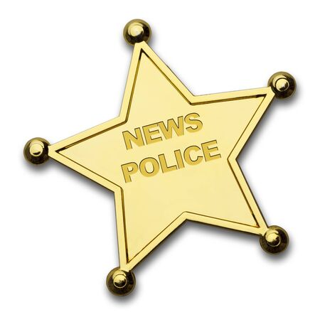 Gold Star News Police Badge Isolated on White Background. Stock Photo