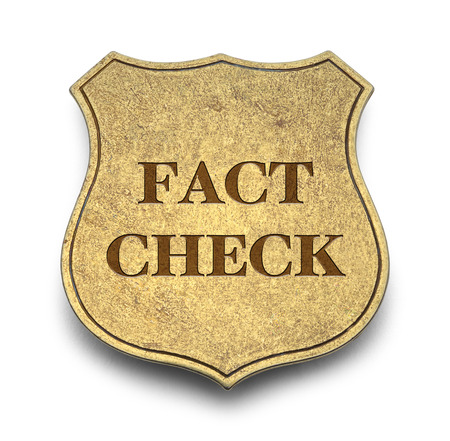 Fact Check Badge Isolated on White Background.