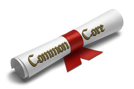 ged: Common Core Diploma Tied With Red Ribbon on a White Isolated Background.
