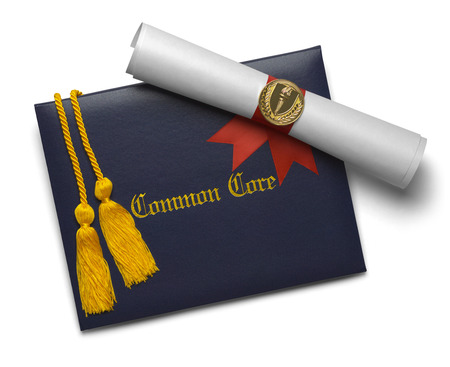 ged: Common Core Diploma of Graduation Cover with Degree Scroll and Torch Medal with Honor Cords Isolated on White Background.