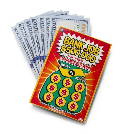 Scratch Off Lotto Ticket with Money Isolated on White Background.