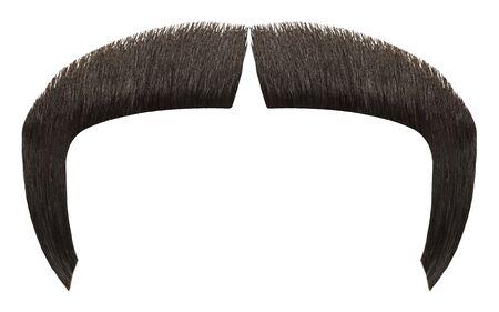 Fu Manchu Hair Mustache Isolated on White Background. Stock Photo
