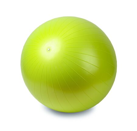 ball isolated: Green Rubber Workout Training Ball Isolated on White Background. Stock Photo