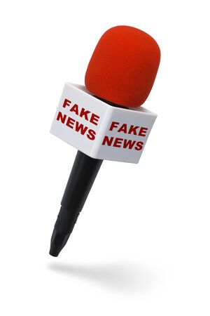 Red and Black Microphone with Fake News Isolated on White Background.
