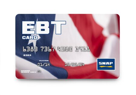 borrowing: Government EBT Snap Card Isolated on White Background.