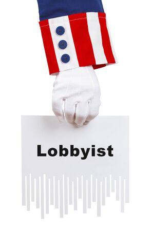 Uncle Sam Shredding Lobbyist Document Isolated on White. Stock Photo