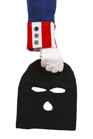 white mask: President Holding a Black Ski Mask Isolated on White Background.