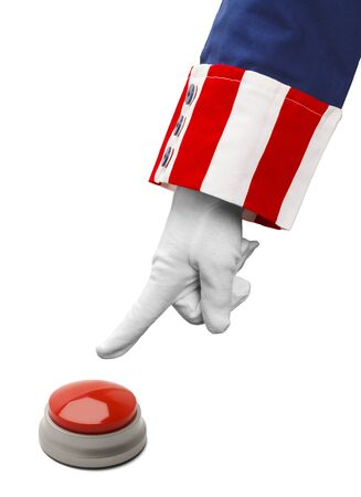 President About to Push Red Button Isolated on White.
